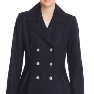 shelli segal double-breasted skirted peacoat